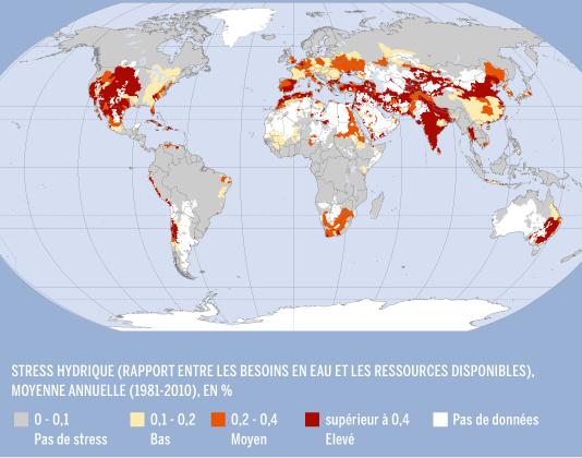 carte stress hydrique eau